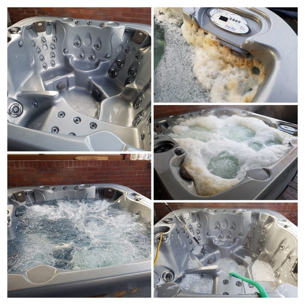 servicing a hot tub